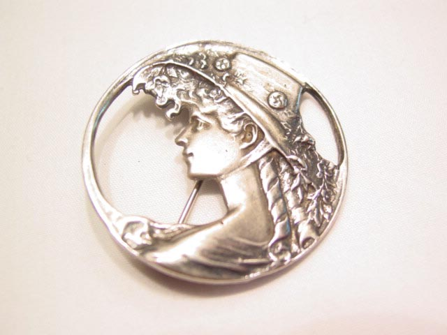 Sterling Reproduction Art Nouveau Woman with Flowing Hair Pin