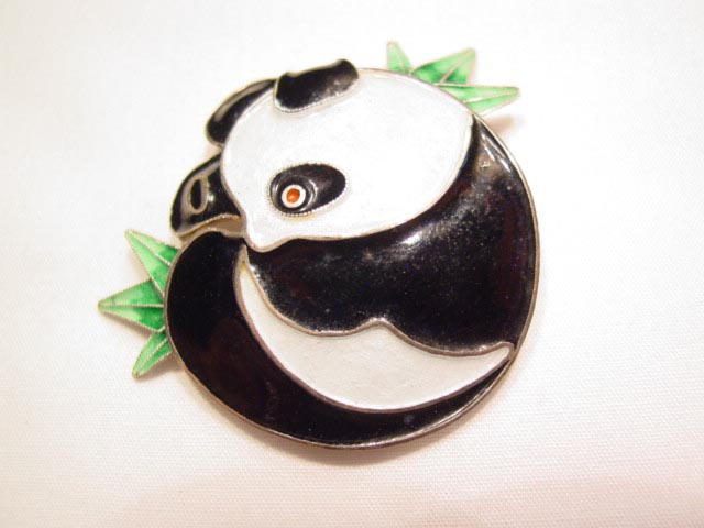 Sterling Enamel Panda Pin