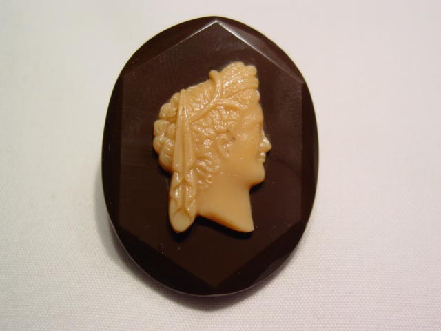 Brown and Beige Glass Cameo