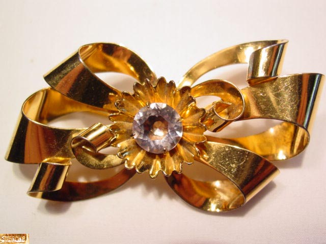Gold Wash Sterling Bow with Clear-Lavender Rhinestone Center Pin