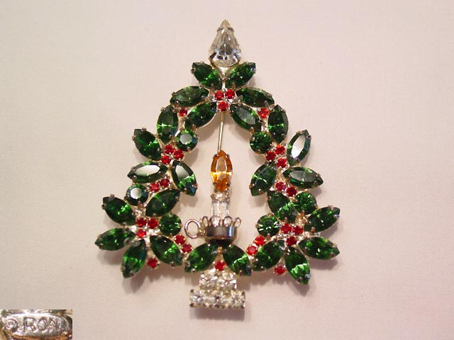 Green and Red Rhinestone Ron Christmas Tree