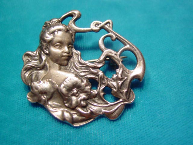 Art Nouveau-Style Sterling Woman Pin