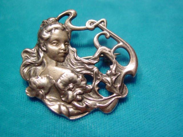 Art Nouveau-Style Sterling Woman Pin