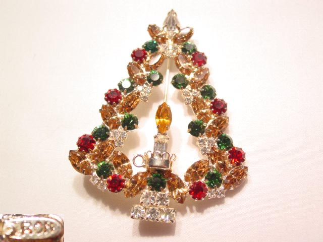 Topaz, Clear, Green and Red Rhinestone Ron Christmas Tree