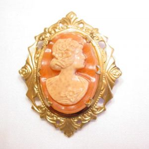 Orange and Cream Cameo Pin
