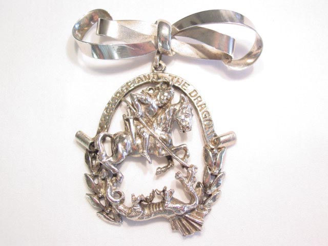 St. George and the Dragon and Sterling Bow Pin