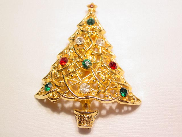 Red, Clear, and Green Rhinestone Filigree Christmas Tree Pin