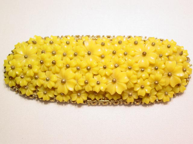 Yellow Flowers Oval Pin