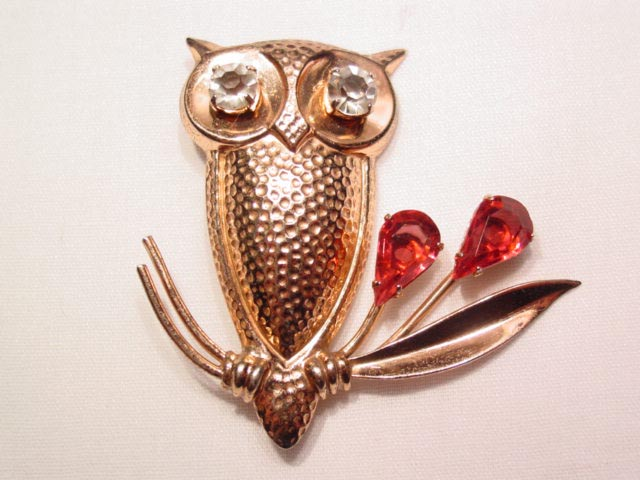 Sterling Owl on a Branch Pin