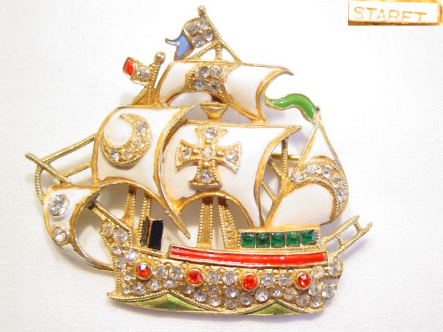 Staret Enameled Ship Pin