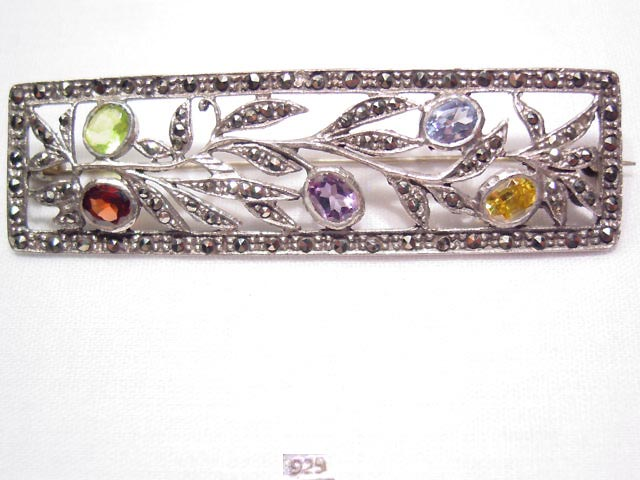Beautiful Colored Stone and Marcasite Sterling Bar Pin