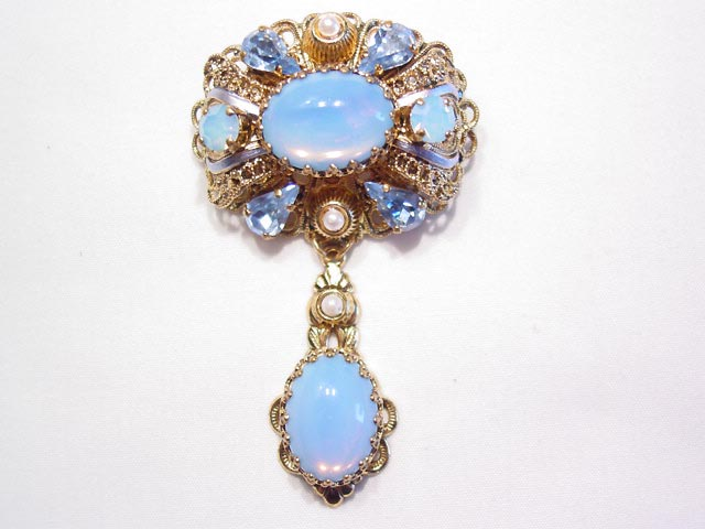 Baby Blue Rhinestone West German Pin