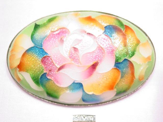 Beautiful Sterling Oval Heavily Enameled Flower Pin
