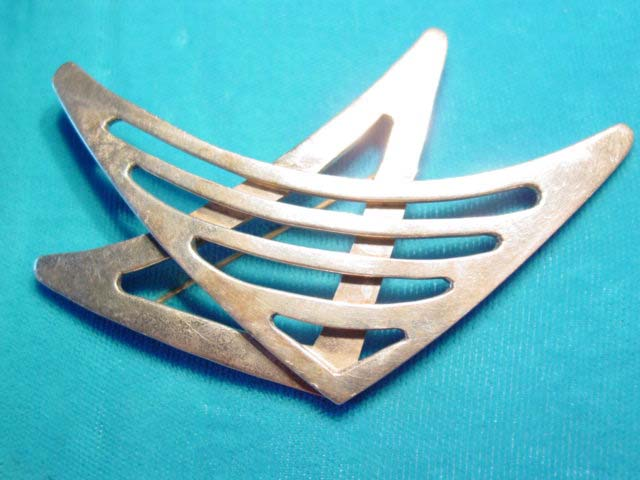 Modernistic FAC Sterling Double Triangle Pin