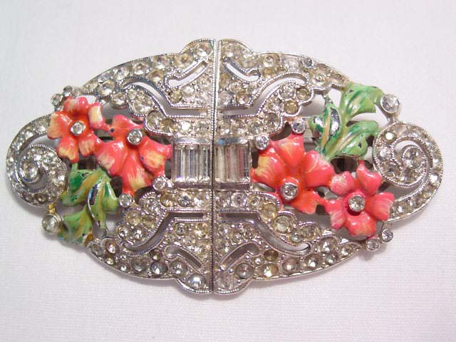 Beautiful Rhinestone and Pink and Green Enamel Floral Duette