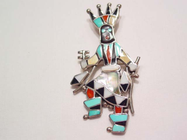 Zuni Sterling Dancing Indian Chief Pendant/Pin by L. Laiwake