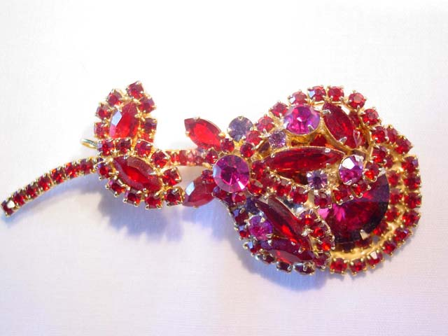 DeLizza and Elster Large Red and Magenta Flower Pin