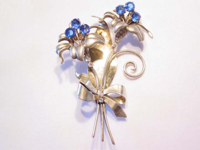 Fantastic Heavy Sterling Lily Pin with Blue Rhinestones