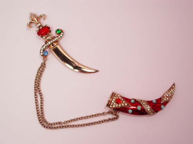 Beautiful Sterling and Enamel Rhinestone and Encrusted Sword Pin Set