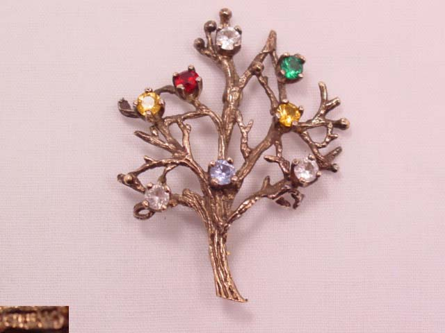 Gold-Plated Sterling Family Tree Pin
