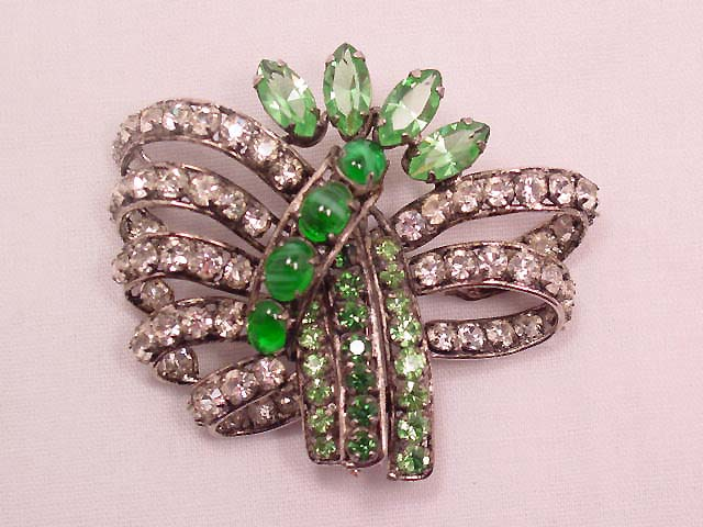 Beautiful Clear and Green Rhinestone Pin by Pu & Tang