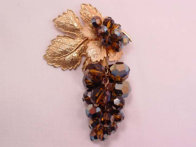 Gorgeous Brown Aurora Borealis Grape Cluster Pin