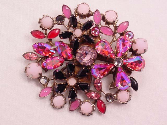 Sorrelli Pink and Black Vibrant Floral Pin