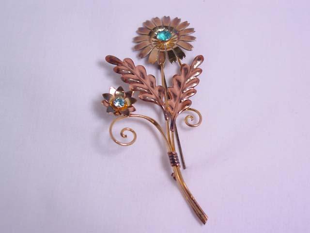 Van Dell Gold-Over-Sterling Long-Stem Flower Pin