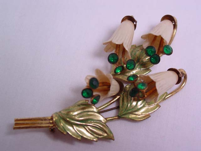 Huge Old Plastic Lily of the Valley Pin