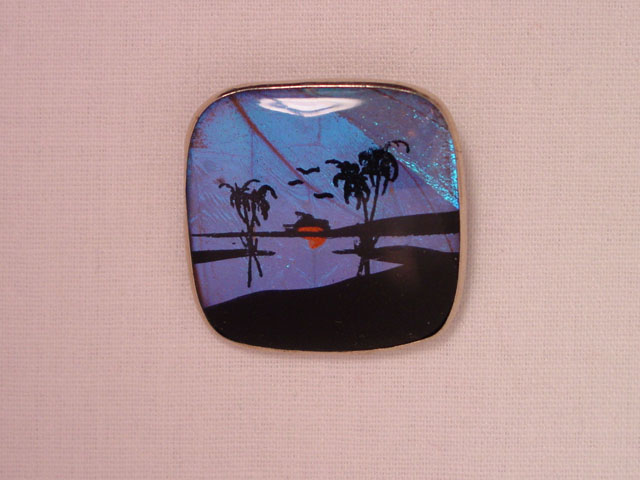 Square Palm Tree Butterfly Wing Pin