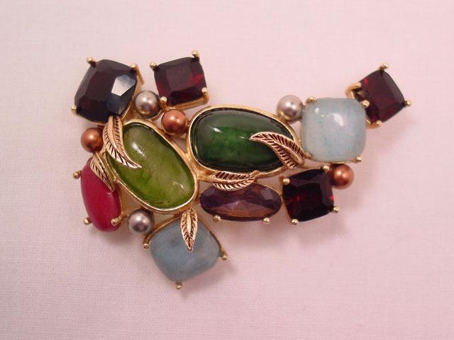 Unusual Multicolor Stone Pin