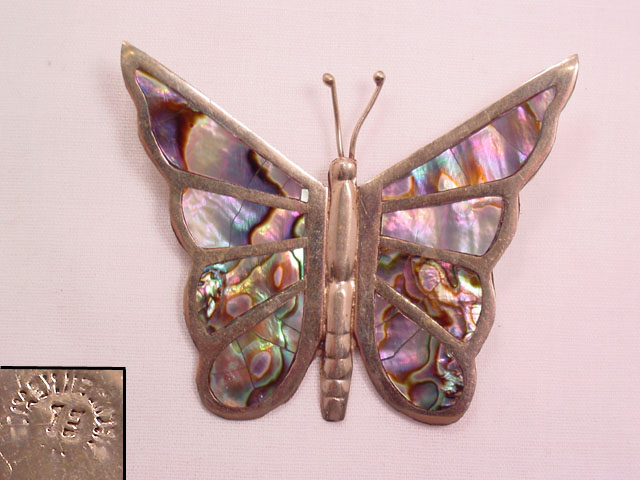 Large Sterling and Abalone Inlay Butterfly Pin
