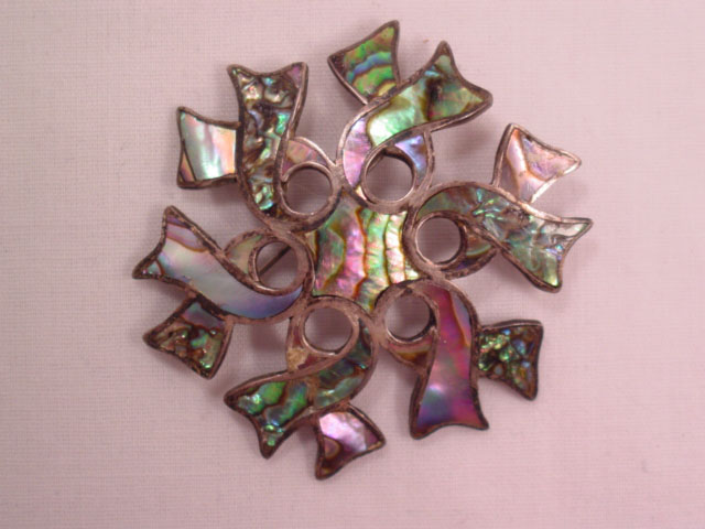 Xola Awareness Ribbon Sterling and Abalone Pin/Pendant