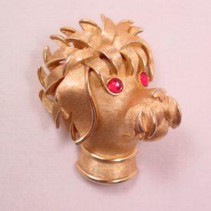 Trifari Shaggy Dog with Magenta Eyes Pin