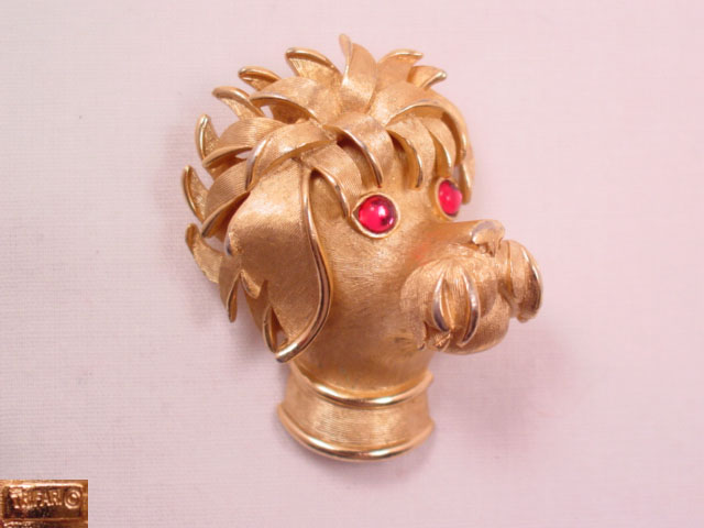 Trifari Shaggy Dog with Magenta Eyes Pin