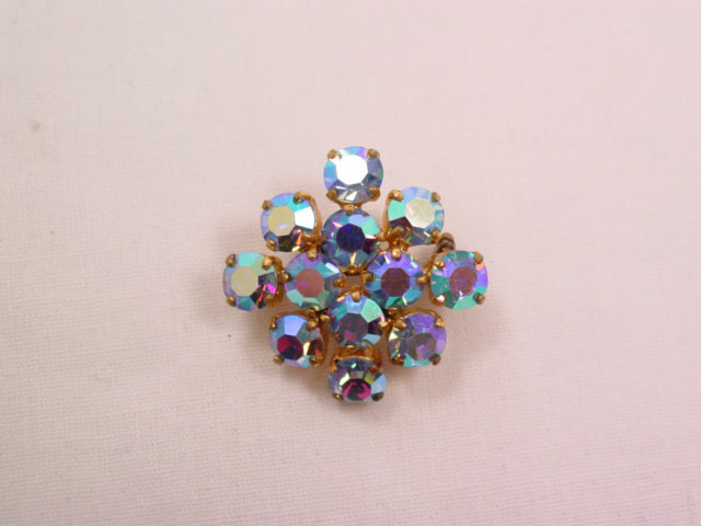 German Square Blue Aurora Borealis Pin