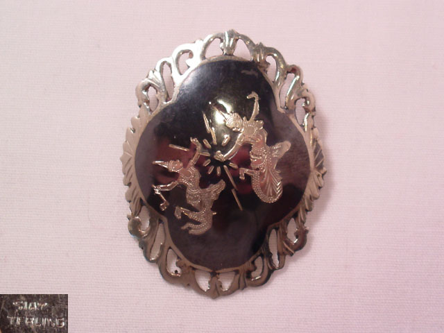 Sterling Double Siamese Dancers Pin