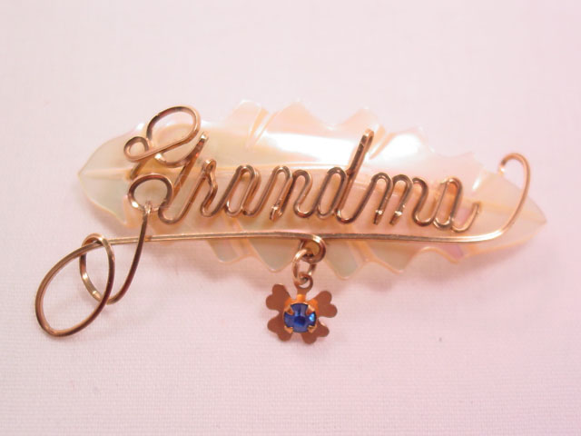 Grandma Mother of Pearl Leaf Pin