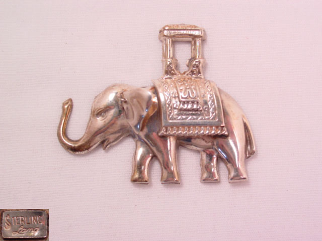 Lang Sterling Elephant with Howdah on his Back Pin