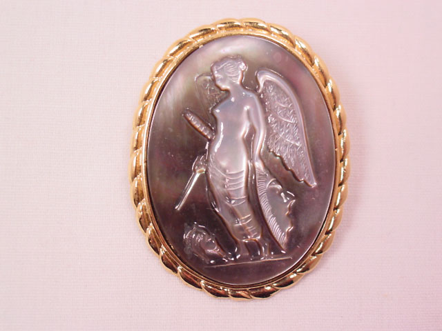 Carved Dark Mother of Pearl Angel Cameo Pin