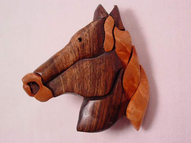 Carved Wooden Horsehead Pin