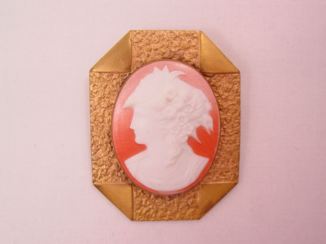 Giant Old Porcelain Cameo Pin