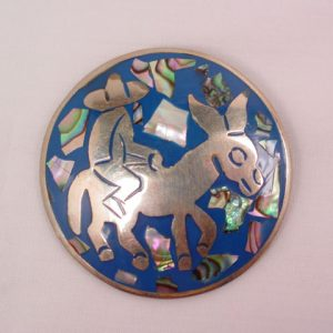 Mexican Man on Donkey Mother of Pearl Pin/Pendant