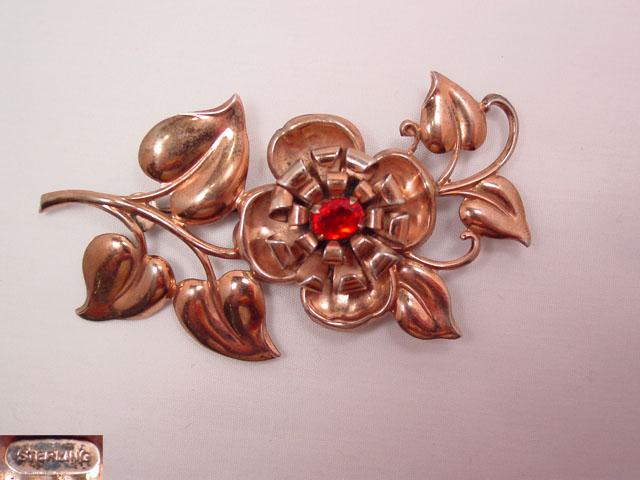 Sterling Floral Design Pin
