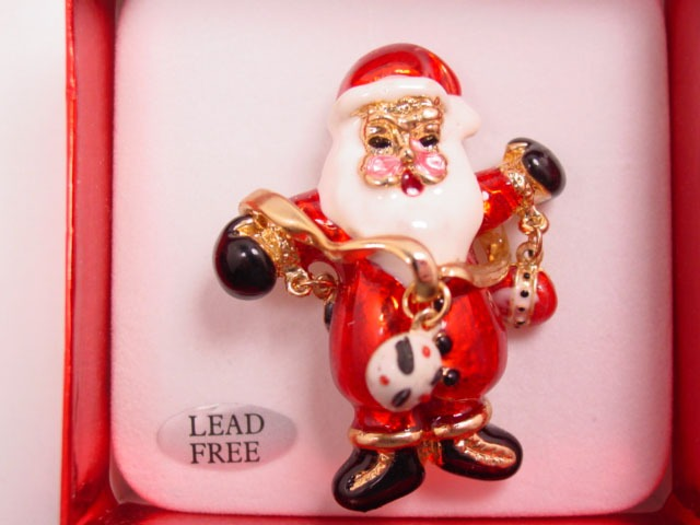Enameled Lead-Free Santa Claus Pin