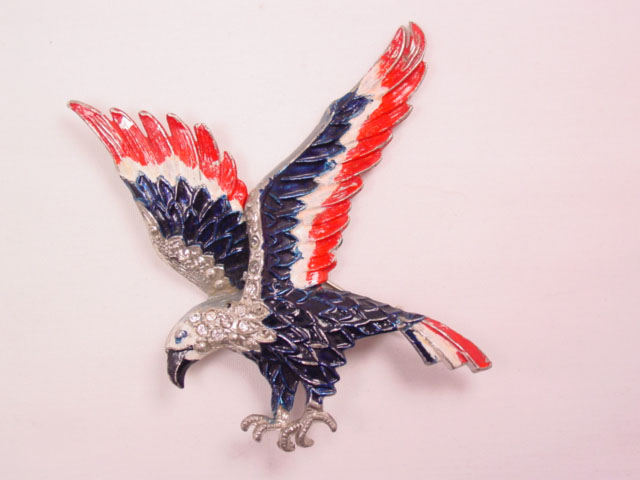 Red, White, and Blue Enamel Pot Metal Eagle Pin