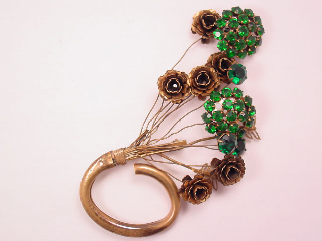 Antique Brass and Green Rhinestone Bouquet Pin