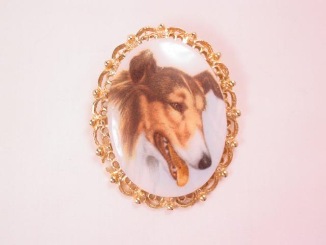 Collie Dog Portrait Pin/Pendant