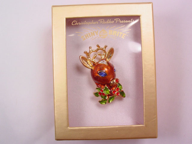 Christopher Radko Reindeer Pin in Original Box