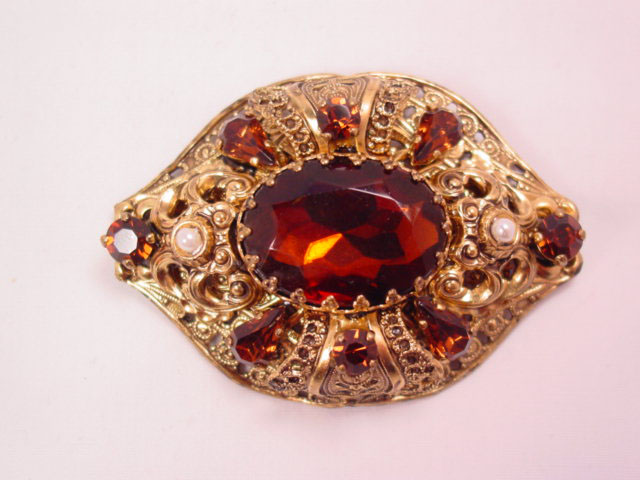 Topaz-Colored West German Pin